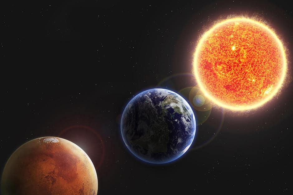 alineación Marte, Tierra Sol