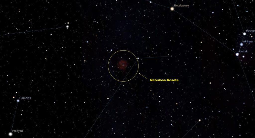 ubicación de la nebulosa roseta