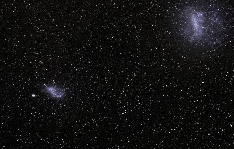 Pequeña y gran nube de magallanes galaxias cercanas a la vía lactea