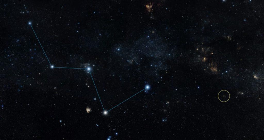 Constelación de estrellas casiopea