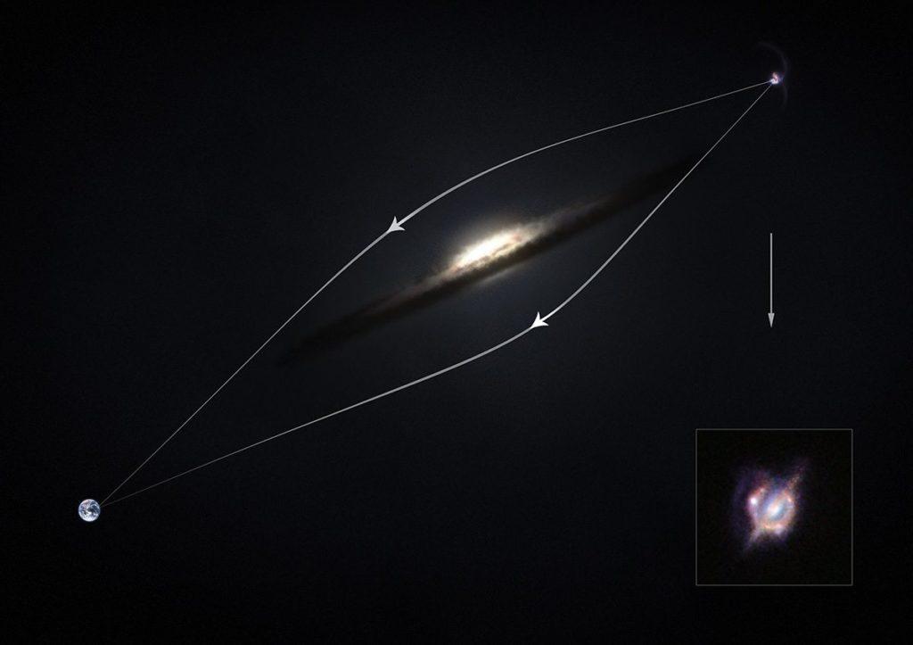 imagen distorsionada de galaxia por efecto de lente gravitacional
