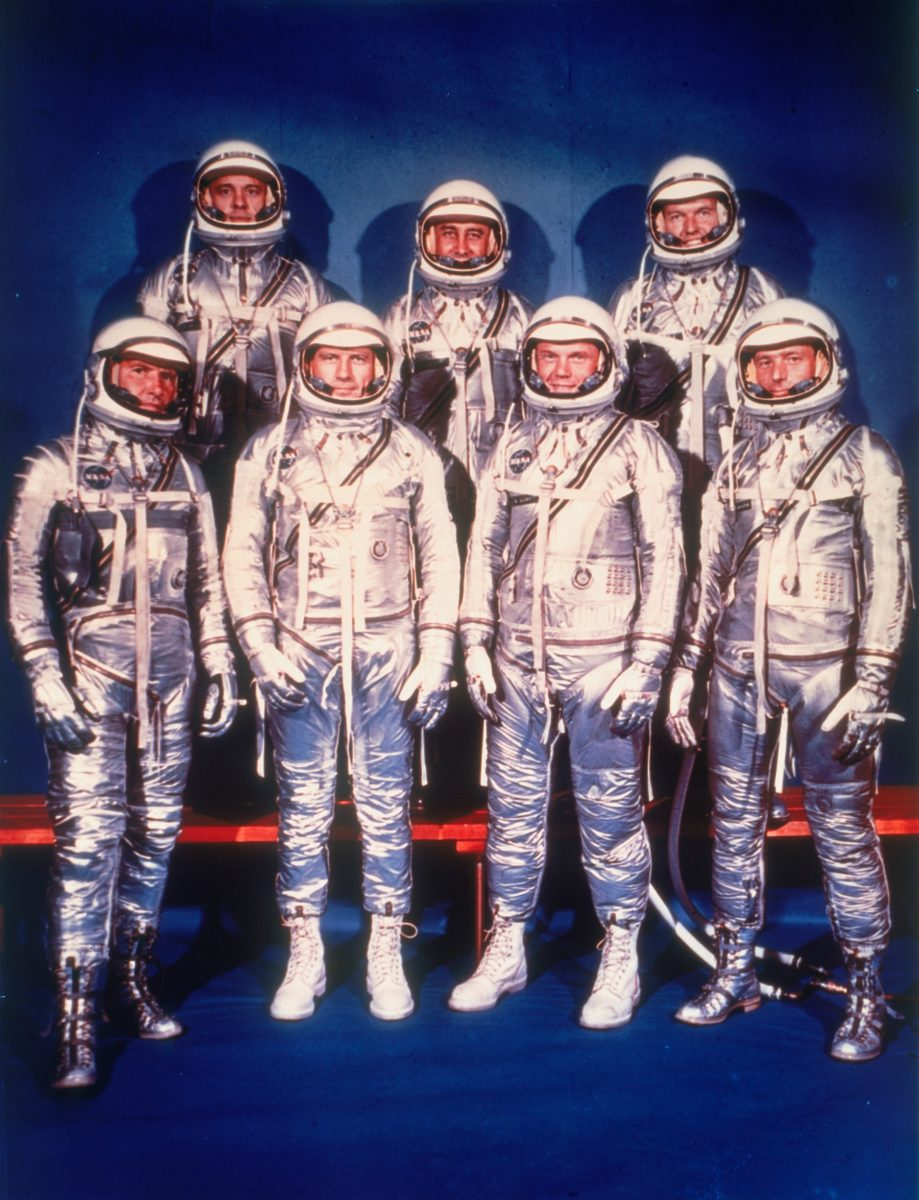 The Mercury Seven astronauts, 1959. A group photo in spacesuits of the seven test pilots chosen in April 1959 to participate in Project Mercury, NASA's manned space project. The astronauts are: (front row, left to right) Walter Schirra, Donald Slayton, John Glenn, Scott Carpenter, (back row, left to right) Alan Shepard, Virgil Grissom and Gordon Cooper. (Photo by Oxford Science Archive/Print Collector/Getty Images)