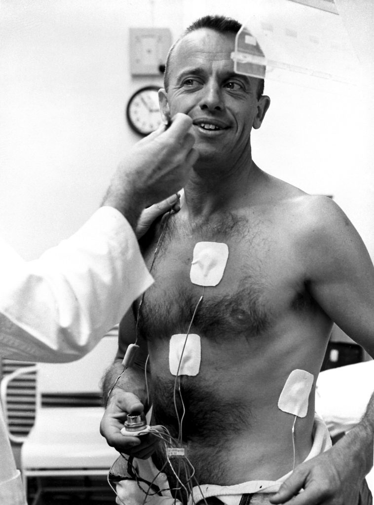Astronaut Shepard, Alan Underwent Physical Examination Prior to first Manned Suborbital Flight, MR-3 with Freedom 7 Capsule. REF; M61-1044-29 (MIX FILE)