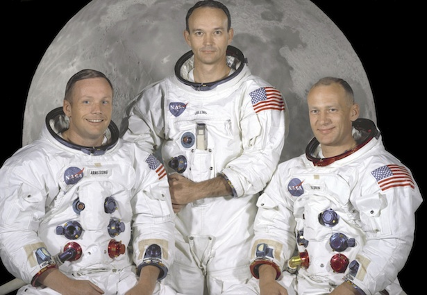 "This NASA studio file image, dated May 1, 1969, shows the Apollo 11 crew of U.S. astronauts Neil Armstrong, (L) who was the Mission Commander and the first man to step on the moon, Edwin ""Buzz"" Aldrin, (R), who was the Lunar Module Pilot, and Michael Collins, (C) who was the Command Module pilot. Apollo 11, launched forty years ago today on July 16, 1969, was the first manned mission to land on the moon. REUTERS/NASA/Handout (UNITED STATES SCI TECH ANNIVERSARY) FOR EDITORIAL USE ONLY. NOT FOR SALE FOR MARKETING OR ADVERTISING CAMPAIGNS"
