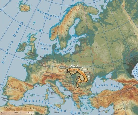 Montes Balcanes Mapa Geografico.Montes Carpatos Ubicacion Mapa